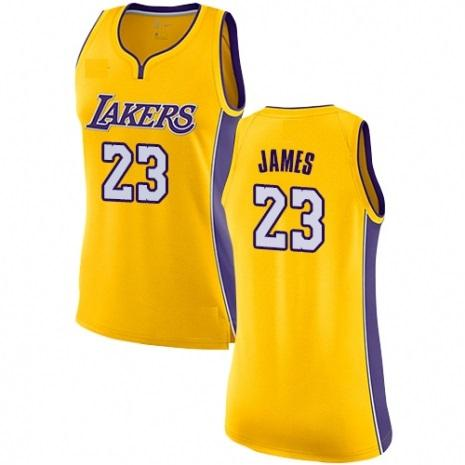 396e2fc92 Women s Los Angeles Lakers  23 LeBron James Authentic Gold Jersey - Icon  Edition cheap Icon