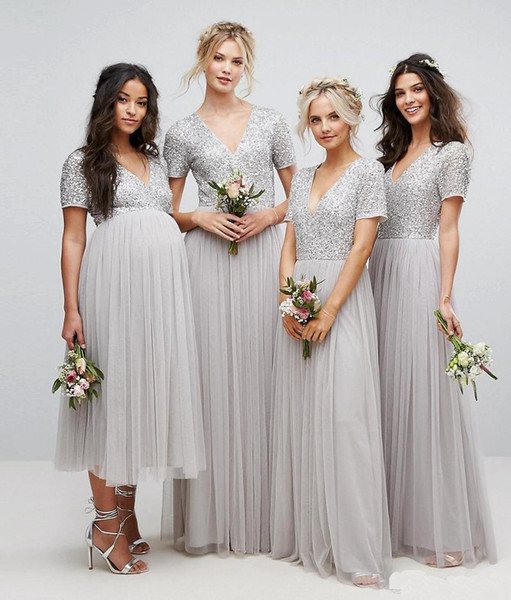 Country Long Sequins Bridesmaid Dresses 2018 Sliver Short Sleeve V Neck Pleated Tulle A-Line Maid Of Honor Pregnant Dress Reception Dresses