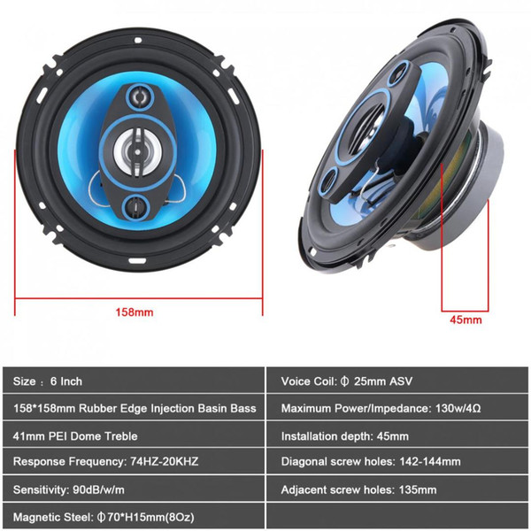 2 Pcs! 6 Inch 500W 2 Way Car Coaxial Auto Audio Music Stereo Full Range Frequency Hifi Speakers Non-destructive Installation