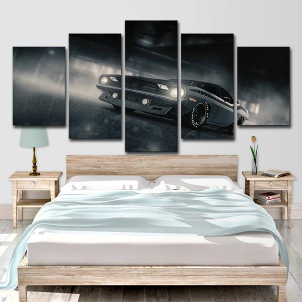 Modular Wall Art Pictures Decoração de Casa Sala de Artesanato HD Prints 5 Peças Preto Luxury Sports Car Canvas Pinturas