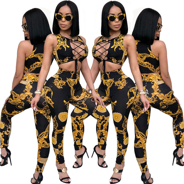 Roupas de mulheres Sexy Colheita Top Calças Lápis Conjuntos Moda roupas de impressão Africano Slim Calça Casual 2 Peça Set Apertado Calças Lace up macacões