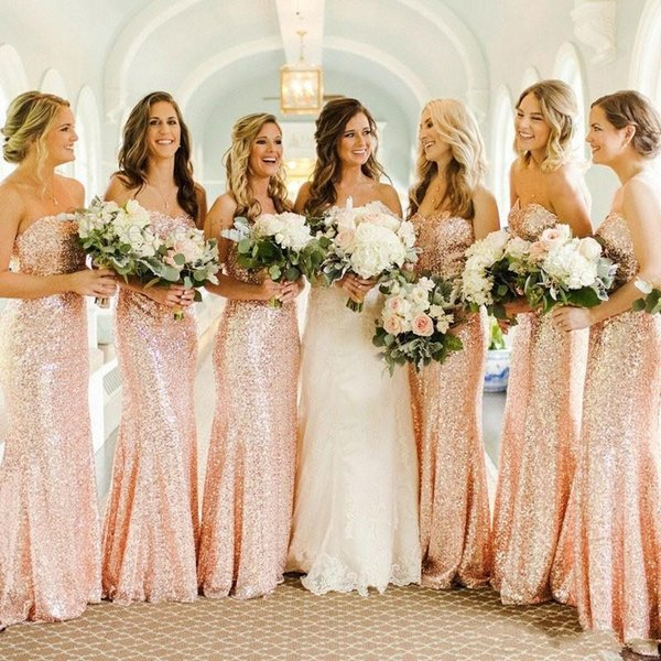 Cheap Rose Gold Sequins Mermaid Bridesmaid Dresses 2019 Custom Made Sweetheart Long Wedding Guest Dress Evening Party Gowns BC0159