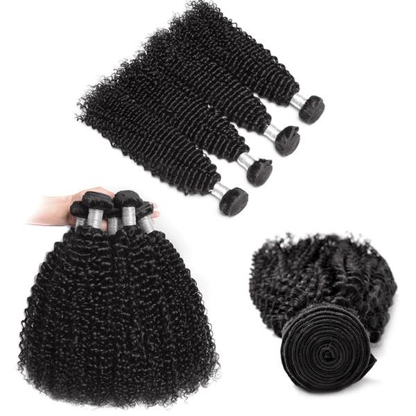 Grade 8A Hair Extension Weft Deep Wave & Kinky Curly 4 PCS Lot Cheap Brazilian Hair Peruvian Malaysian Indian Human Hair Bundles