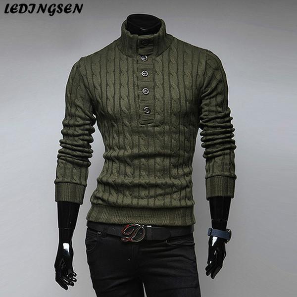 LEDINGSEN 2018 maglione lavorato a maglia a collo alto in maglia da uomo casual verde militare lavorato a maglia nero slim fit pullover di lana lavorato a maglia nero