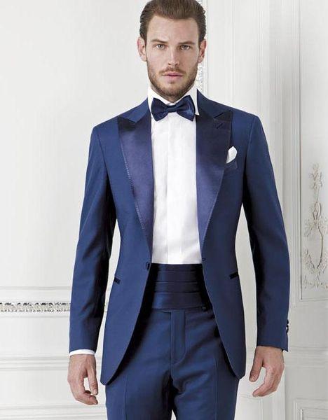 Brand New Men Blue 2 piezas traje de boda esmoquin excelente novio esmoquin con pico de solapa hombres Prom Dinner Blazer (chaqueta + pantalones + Tie + faja) 1334