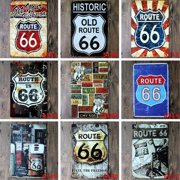 Lot Farklı Stilleri Route66 Retro Metal Tabelaları Kalay Boyama Ev Dekor Posterler El Sanatları Malzemeleri Duvar Sanatı Resimleri Duvar Dekor