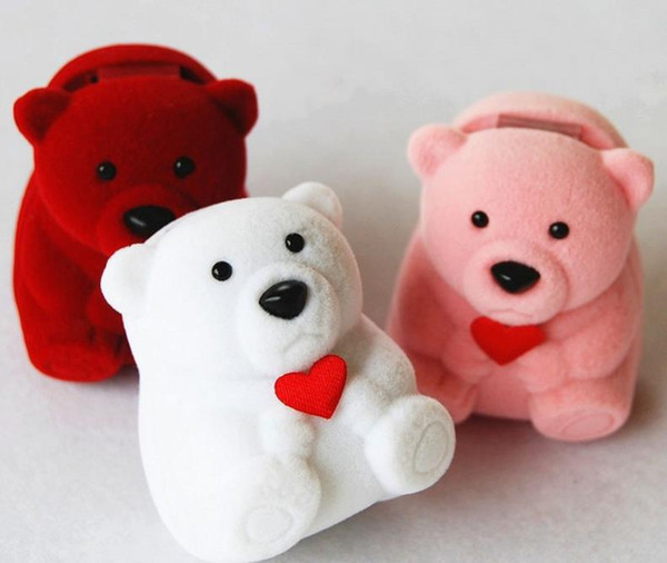34.5*43*32mm New Velvet Ring Box earring box, bear design red, pink , white color Jewelry Display Gift Case