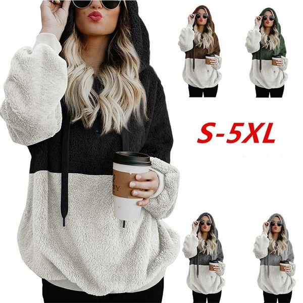 Oversize Cotton Sherpa Hoodie Soft Fleece Coat Women Long Sleeve Hip Hop Patchwork Sweatshirt Designer Fashion Winter Warm Clothes 26yf hh