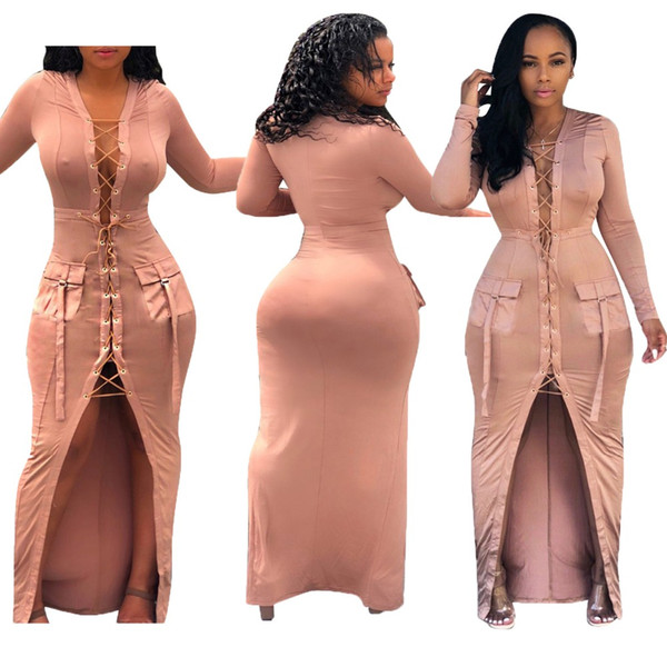 Front Split Sexy Asymmetry Maxi Dress Women Eyelet Cross Lace Up Double Pockets Bodycon Dress Autumn Solid Full Sleeve Robe
