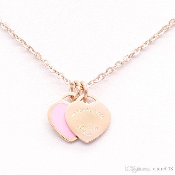 Uphot Nueva esmalte de acero inoxidable de color rosa collar de corazón doble T de acero de titanio collar de oro fe short18k colgante de collar de la mujer