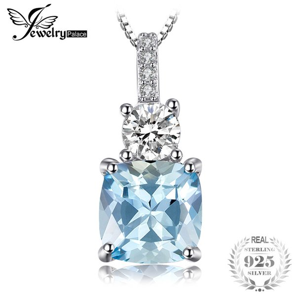 JewelryPalace 2.2ct Cushion-Cut Genuine Sky Blue Topaz Pendant Necklace 925 Sterling Silver 45cm Box Chain Fine Jewelry Y18102910