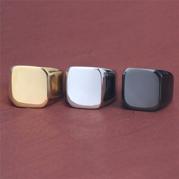 Stainless Steel Blank Ring Silver Black Gold Square Blank knuckle Ring Motorcycle Band Ring Fashion Jewelry for Men Drop Ship 080372