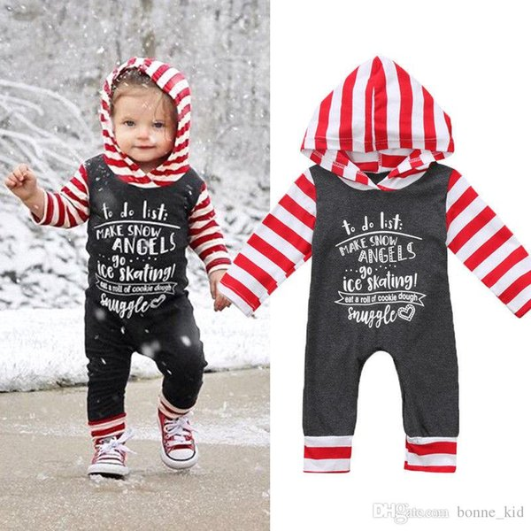 Christmas newborn Baby Boys Girls Gray Striped Hooded Romper Long Sleeve Bodysuit Jumpsuit Letter Print Kid Clothes Outfit 0-24M