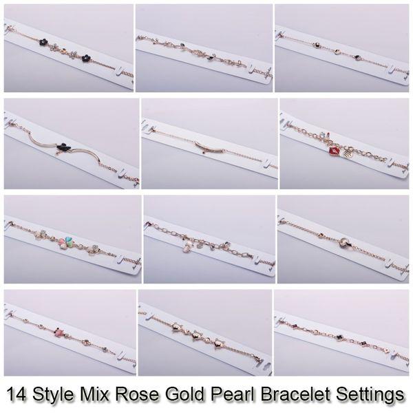 top popular 14 Styles Pearl Bracelet Settings Zircon & Rose Gold Bracelets For Women Settings Mounting Bracelet Blank DIY Jewelry DIY Gift 2019