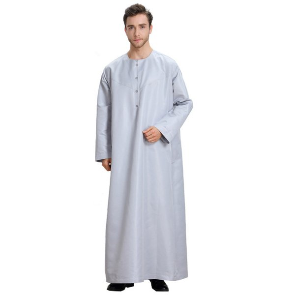 CIBO musulman hommes saoudien style arabe robe décontractée coupe ample Thobe Abaya robe arabe caftan robe courte chemise à manches longues cosplay