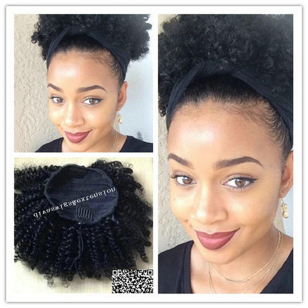 100 Human hair ponytail hairpiece natural hair bun afro kinky curly puff drawstring ponytail clip hair extension 120g