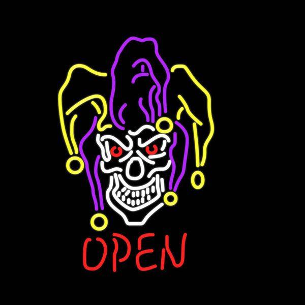 "Miscellaneous Jester Skull OPEN Neon Sign Custom Advertisement Handmade Real Glass Tube KTV Club Beer Bar Display Neon Signs 20""X24"""