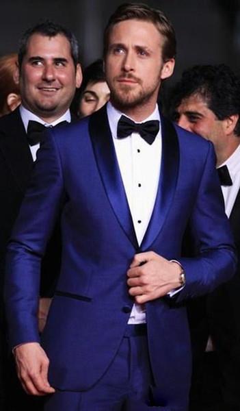 Classy Custom Made Blue Mens Wedding Suits Two Pieces Slim Fit Groomsmen Tuxedo Cheap Prom Suit ropa de hombre 2018 (Jacket+Pants)