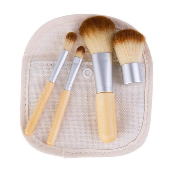 2018 4Pcs Brushes Kit Wooden Makeup Brushes Beautiful Professional Bamboo Elaborate Make Up Brush Tools with Sackcloth Bag
