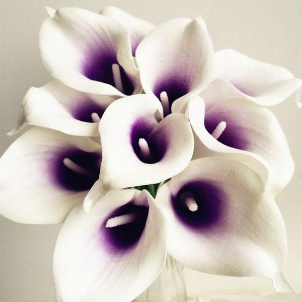 30pcs callas artificielle calla lily bleu coeur / violet coeur calla lys fleur pour le mariage de mariée bouquet fleurs décoratives