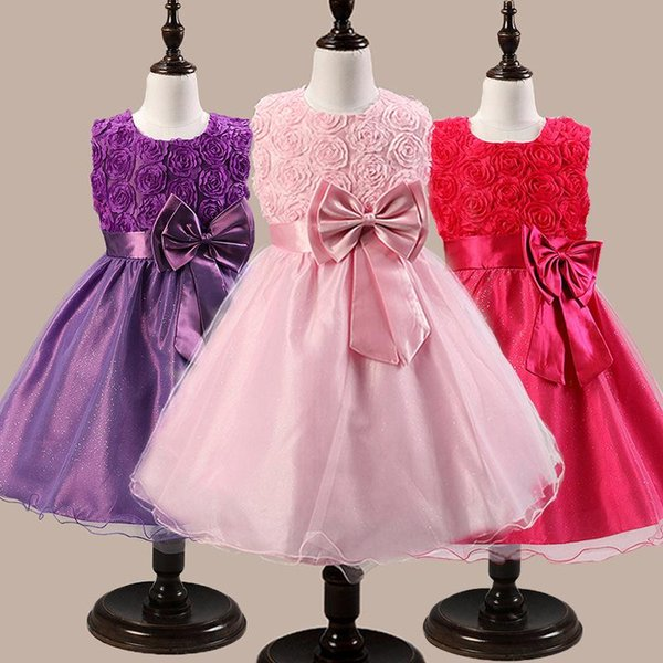 Children dress princess skirt children bow rose flower dress costume