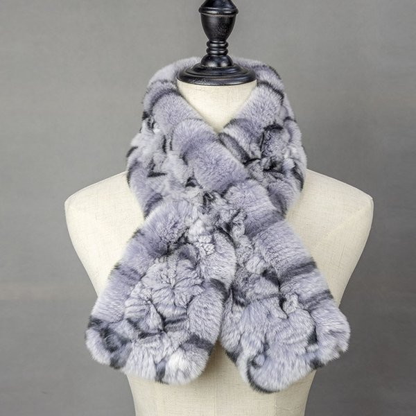 Women Knitted Fur Scarf 2018 Warm Neck Warmer Winter Knit Fashion Rex Rabbit Fur Scarves Womens Scarves For Ladies Russia