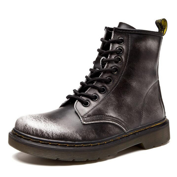 Large size36-46 Autumn and winter new England Martin boots leather men and women motorcycle shoes solid color design