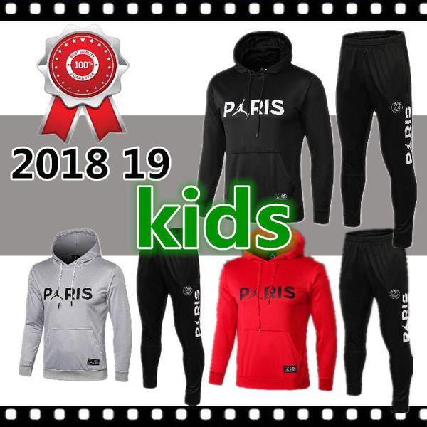 Niños 2018/19 Jordam X PSG chaqueta con capucha Champions League Survetement 18/19 traje de entrenamiento PSG MBAPPE chaquetas de fútbol POGBA