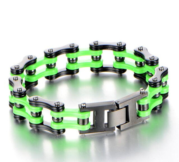 New List 16mm wide 8.66'' (22cm) Stainless Steel Gothic Fashion bicycle Link-chain Bracelet Black Green