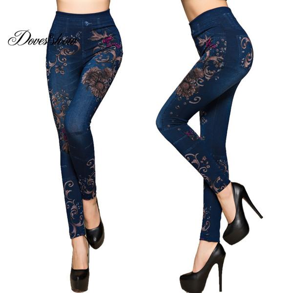 Moda Ince Kadın Tayt Faux Denim Jeans Tayt Seksi Uzun Çiçek Baskı Casual Faux Denim Kalem Pantolon Polar