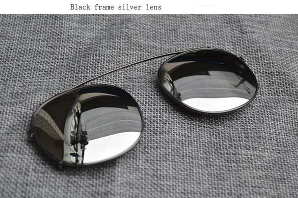 black frame silver lens