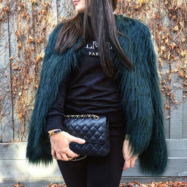 Kürklü Kürk Kadın Kabarık Sıcak Uzun Kollu Kadın Giyim Sonbahar Kış Ceket Ceket Tüylü Yakasız Palto 6Q0205