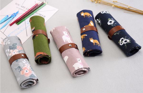 wholesale free shipping pencil case 20pcs\lot apanese and Korean cute roll pen bag versatile creative student personality pencil bag007