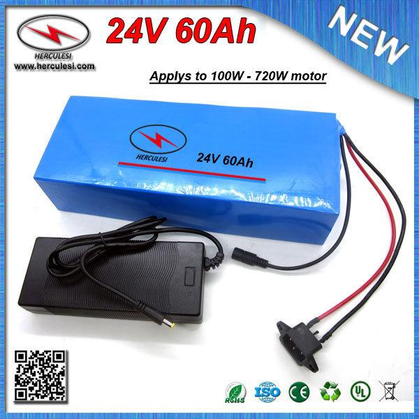 Powerful 24V 60Ah Lithium ion Battery pack for 700W Electric Bicycle E Bike with PVC Case 18650 S amsung cell 30A BMS + Charger