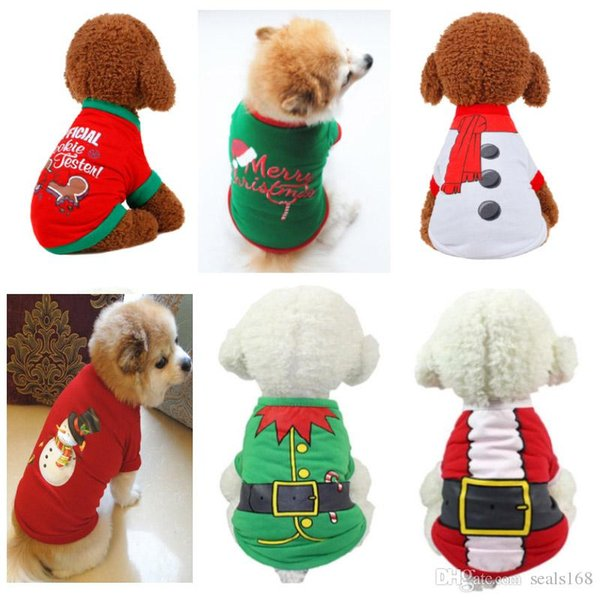 Christmas Pullover Hoodies Dog Clothes Pet Dog Cat Costume Shirt Sweater For Santa Snowman Belt Casual Clothes XS S M L HH7-1742