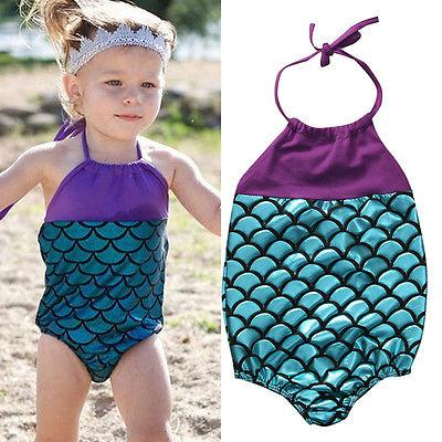 top popular Summer Baby Girls Mermaid Swimwear One-piece Swimsuits Bandage Swimsuit Bathing Suit Beach Wear Princess Swimming Wear 2021