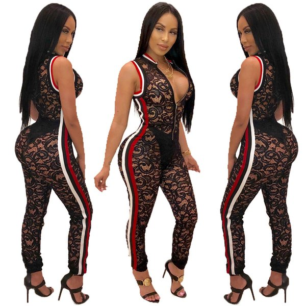 22bd9d2f2041 2018 Rompers Sexy Women Jumpsuit Sleeveless V Neck Hollow Out Lace Jumpsuit  Bodysuit Overalls for Party Women Clothing