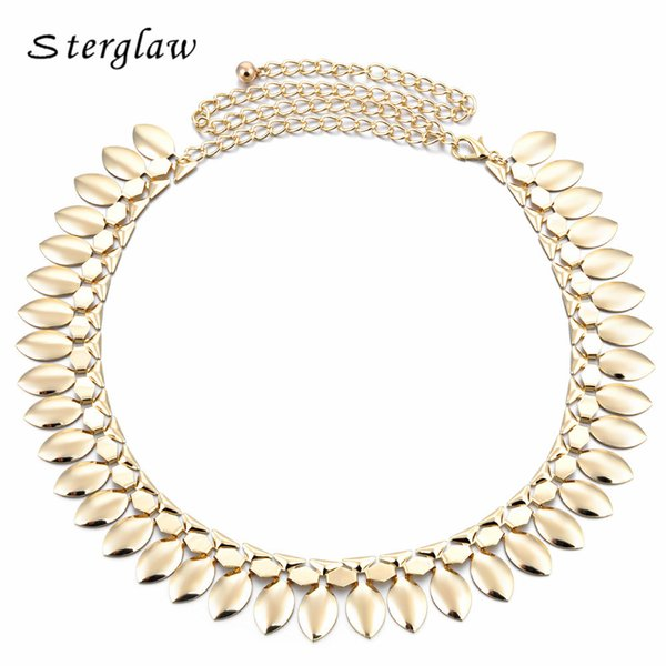 Handmade Silver&Golden Metal Leaves Ladies Waist Chain Belts For Women Belly Dance Charm Belts Party Dresses Ceinture F068 S18101807