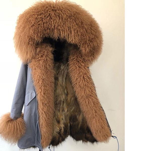 2018 Nueva chaqueta de invierno abrigo de las mujeres Parka Natural Real Fox cuello de piel capucha Mapache de piel de forro Prendas de vestir exteriores Marca Casual Streetwear Parkas