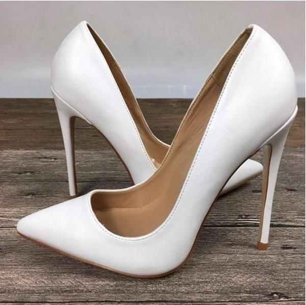 New White Women's High Heels Shoes exclusive Brand Patent PU Shiny Leather Red Bottom Dress Shoes Female 10cm 8cm 12cm Female High Heels