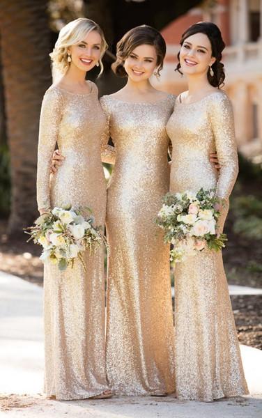 Champagne lantejoulas vestidos de dama de honra mangas compridas Bateau Neck Mermaid Maid Of Honor Vestidos Até o chão Backless País Wedding Guest Dress