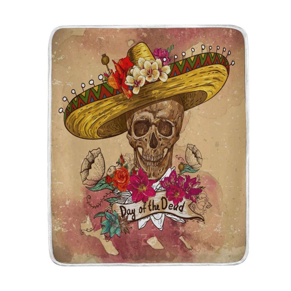 Day of the Dead Flower Sugar Skull Vintage Blanket Soft Warm Cozy Bed Couch Lightweight Polyester Microfiber Blanket
