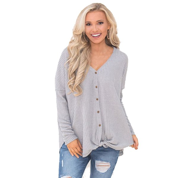 Autumn Womens Tops and Blouses Sexy V-neck Long Sleeve Shirt Loose Knitted Cotton Button Cardigan Ladies Shirts Feminine Blouse Kimono
