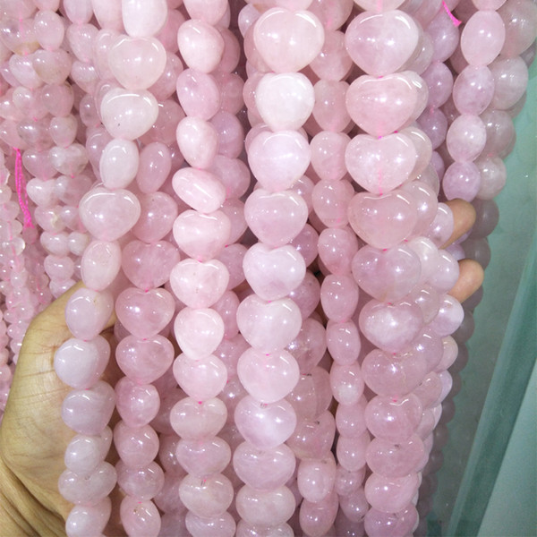 10/12/14mm Natural Pink Crystal Stone Beads Heart Shape Rose Quartz Loose Beads For Jewelry Making DIY Good Quality