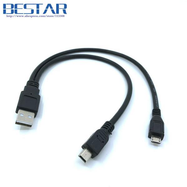 2 in 1 COMBO Mini-usb Mini-USB Micro USB 2.0 Micro-USB 5-poliger Stecker Y Kabel 30cm 1ft Für die Ladung und Datensynchronisation