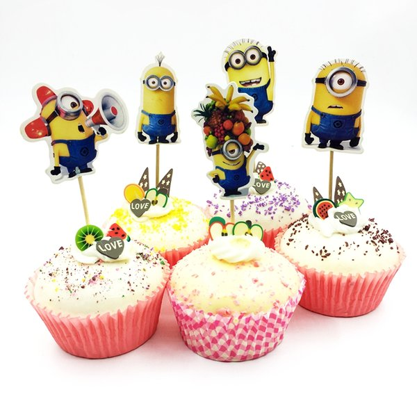 720 adet / grup Karikatür Minions despicable Me Kek Topper Pick çocuklar Doğum Günü Düğün Parti Malzemeleri Kek Bayrakları Dekorasyon ...
