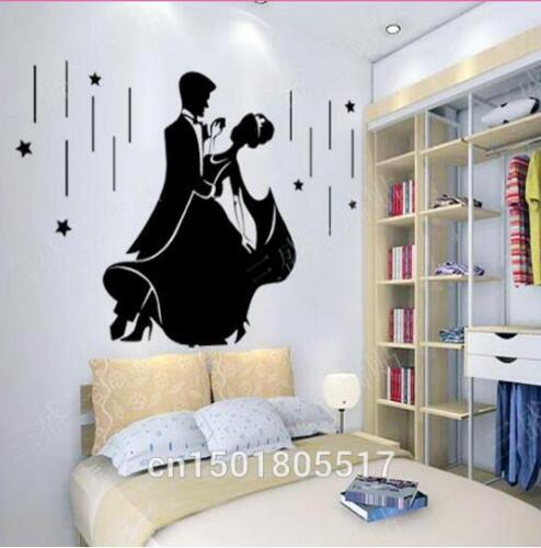 Free shipping Romantic Wedding Wall Sticker Decorations Bedroom Wallpaper Murals Couple Fashion Dance Wallpaper Home Decor Vinyl DI