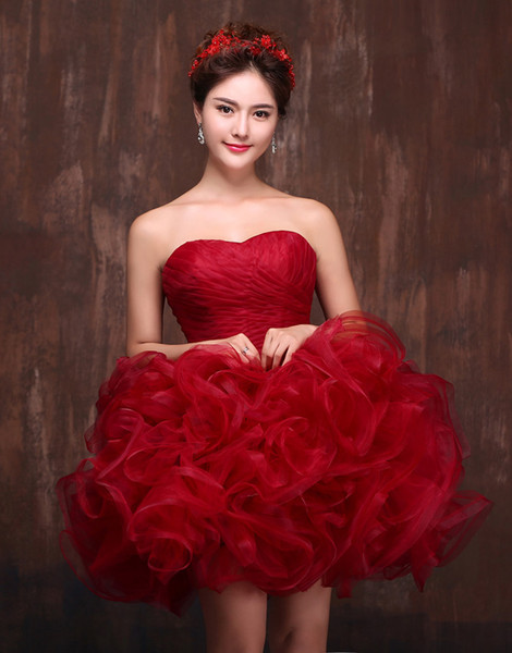 Sweetheart Short Prom Dress Wine Red Homecoming Ball Gowns Girls Cascading Ruffles Tiered Organza Party Gown Mini Prom Dresses