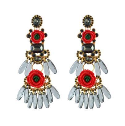 Europe and the United States exaggerated big brand alloy flower earrings tassel resin diamond Boho personality fashion accessories female de