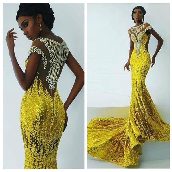 2018 slim bling luminoso giallo paillettes sirena prom dresses africa donne appliques abiti da sera in rilievo sweep treno nero ragazza partito usura